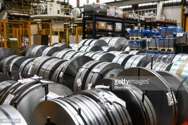 Rolls of aluminium metal sit at Liberty Pressing Solutions in Coventry UK on Monday April 23 2018 Aluminum markets are still reeling from US...