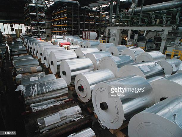 Rolls of aluminum foil are shown at the Kovohute factory in the Czech Republic in September 1998