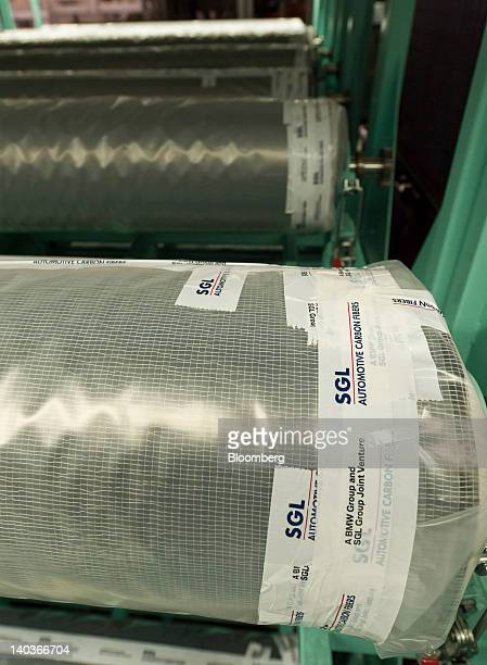 Rolls of carbon fiber products manufactured by SGL Carbon SE sit ready for use at Bayerische Motoren Werke AG automobile plant in Landshut Germany on...
