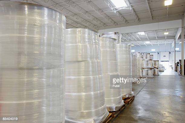 Rolls of Cellophane in Warehouse