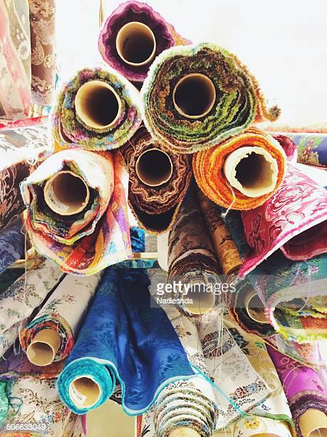Rolls of colorful cloths