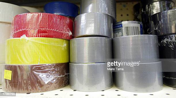 Rolls of duct tape are for sale in an East Village hardware store February 13 2003 in New York City Americans have been stocking up on duct tape and...