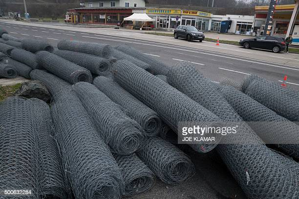 Rolls of fence are pictured at Austrian and Slovenian border crossing in Spielfeld Austria on December 9 2015 Austria has begun to build a 37 km long...