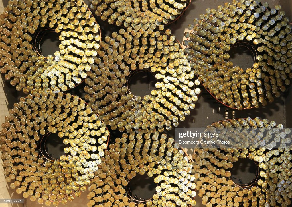 Rolls of nails sit in a box at a construction site : Stock Photo