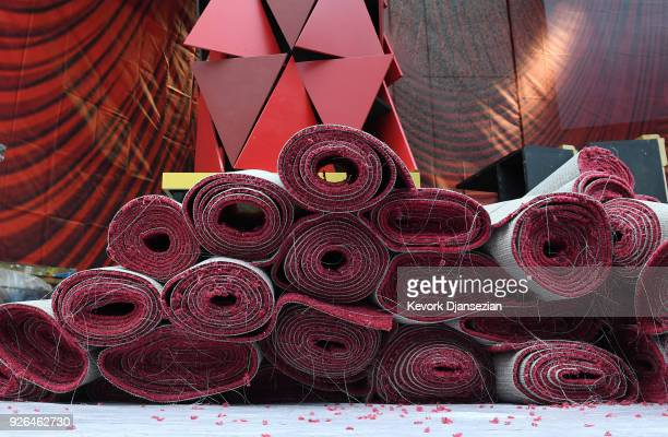 Rolls of red carpet is placed on the arrivals area during preparations for the 90th Academy Awards on March 2 2018 in Hollywood California