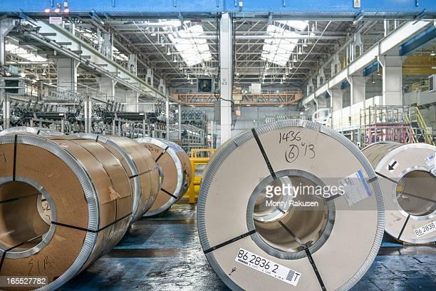 Rolls of steel in car plant