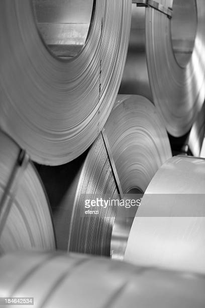 rolls of steel sheet - rolled up stock pictures, royalty-free photos & images