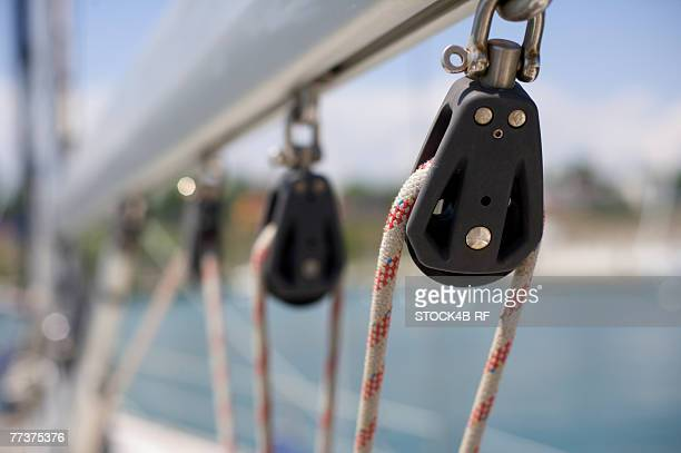Rolls on a boom of a sailing yacht, close-up, differential focus