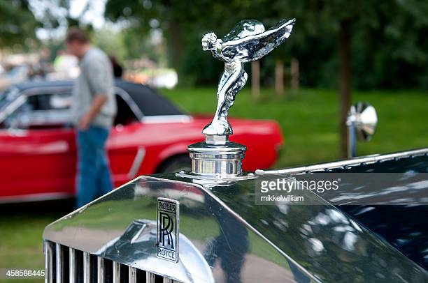 rolls royce hood ornament - spirit of ecstasy - rolls royce stock photos and pictures