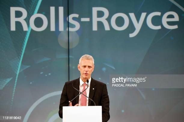 Rolls Royce President For Civil Aerospace Chris Cholerton speaks during a ceremony for the delivery of the first Airbus A380 to the Japanese airline...