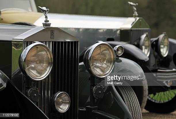 Rolls Royce Spirit of Ecstasy bonnet ornament is seen on a parked vintage car in front of Northington Grange, the summer home of the Grange Park...