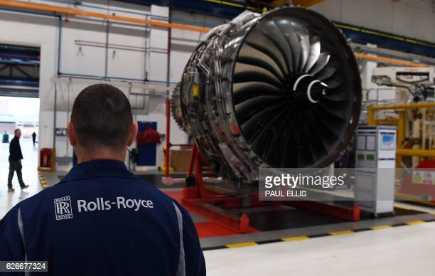 Rolls Royce Trent XWB engines on view on the assembly line at the Rolls Royce factory in Derby central England on November 30 2016 The engine is...