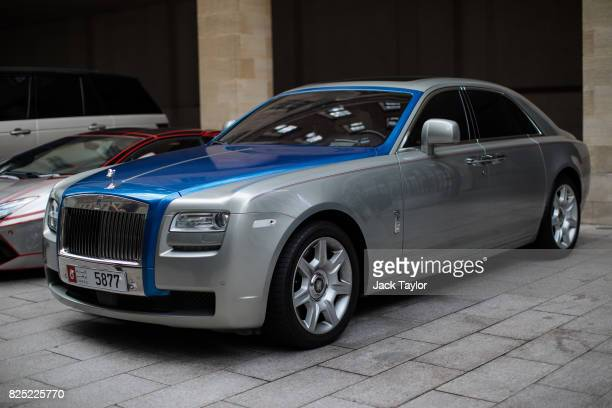 Rolls Royce with a United Arab Emirates licence plate sits parked outside the Grosvenor House Hotel in Mayfair on August 1 2017 in London England...