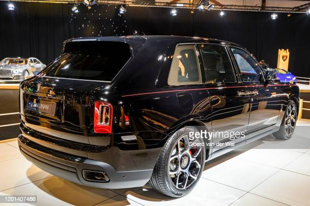 RollsRoyce Cullinan Black Badge luxury SUV car on display at Brussels Expo on January 8 2020 in Brussels Belgium The Cullinan is the first SUV by...