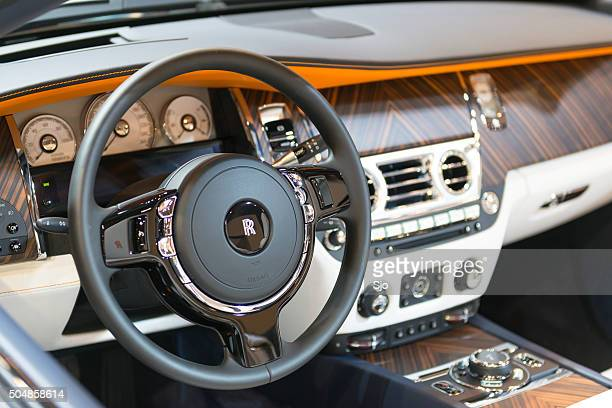 rolls-royce dawn four seater luxury convertible dashboard - rolls royce stock photos and pictures