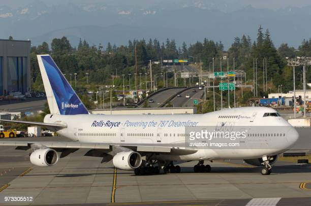 RollsRoyce North America Boeing 747200 Trent 1000 engine testbed taxiing Part of the special Boeing 7series airliner customer party airshow...