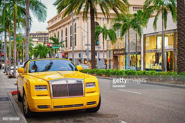 rolls-royce phantom em beverly hills, los angeles, califórnia, eua - beverly hills - fotografias e filmes do acervo