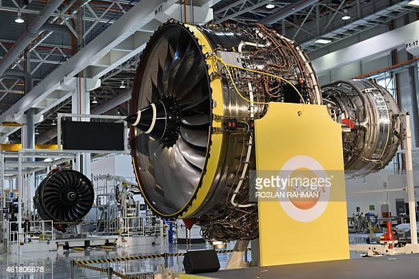 RollsRoyce Trent 1000 aero engine for Singapore's very own longhaul budget carrier Scoot is seen during the unveiling ceremony at Rolls Royce...