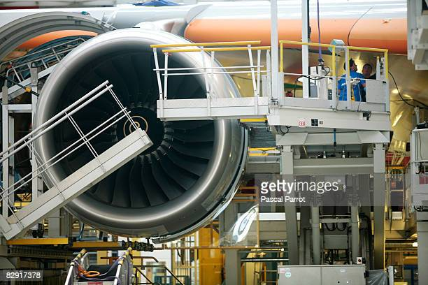 RollsRoyce Trent 900 reactor for a A380 aircraft is under construction at the EADS JeanLuc Lagardere assembly factory September 19 2008 in Toulouse...