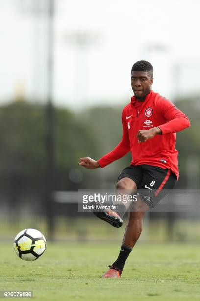 Roly Bonevacia in action during a Western Sydney Wanderers ALeague training session at Blacktown International Sportspark on March 2 2018 in Sydney...