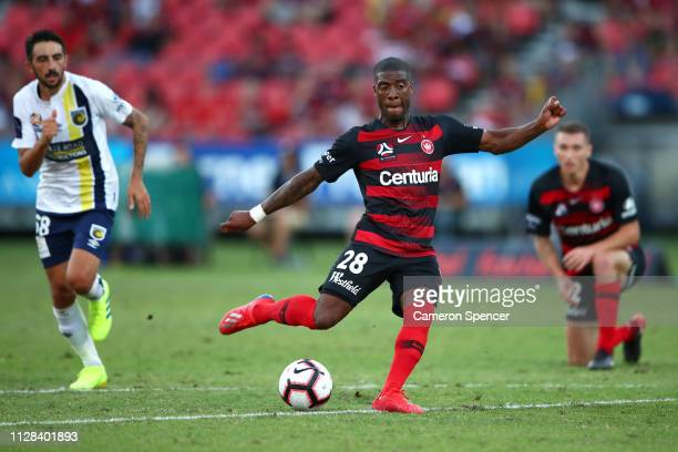 Roly Bonevacia of the Wanderers attempts a shot at goal during the round 18 ALeague match between the Western Sydney Wanderers and the Central Coast...