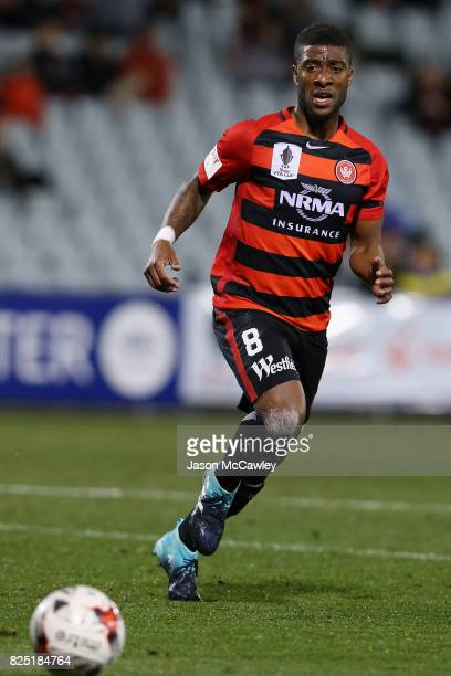 Roly Bonevacia of the Wanderers controls the ball during the FFA Cup round of 32 match between the Western Sydney Wanderers and the Wellington...