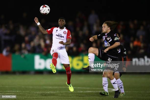 Roly Bonevacia of the Wanderers controls the ball during the FFA Cup Quarterfinal match between Blacktown City and the Western Sydney Wanderers at...