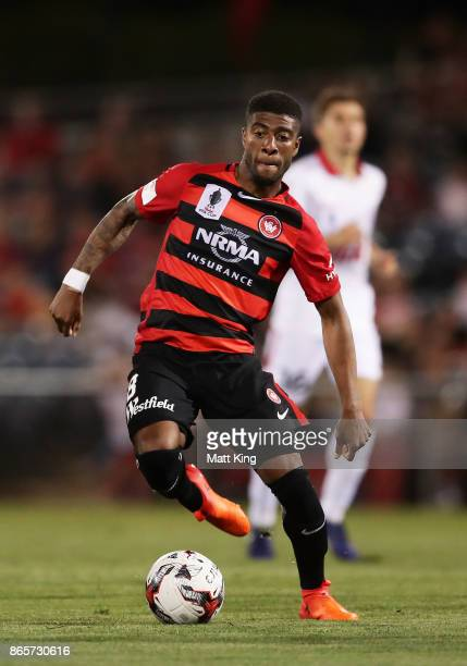 Roly Bonevacia of the Wanderers controls the ball during the FFA Cup Semi Final match between the Western Sydney Wanderers and Adelaide United at...