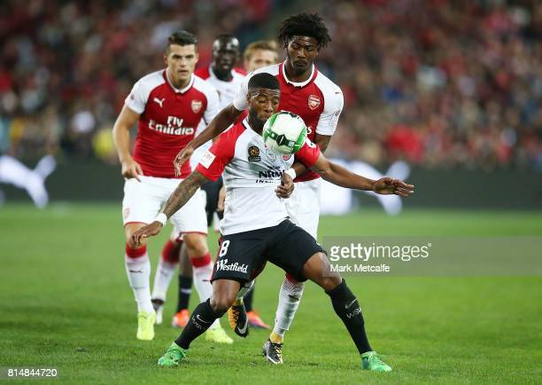 Roly Bonevacia of the Wanderers controls the ball during the match between the Western Sydney Wanderers and Arsenal FC at ANZ Stadium on July 15 2017...