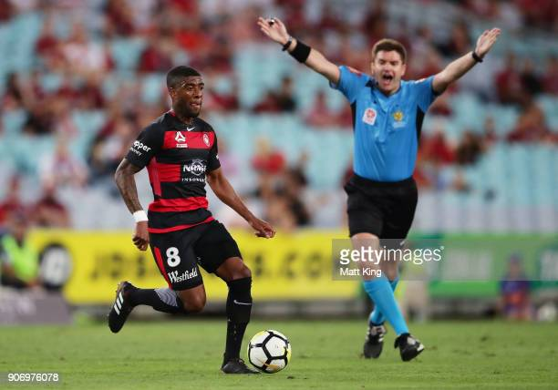 Roly Bonevacia of the Wanderers controls the ball during the round 17 ALeague match between the Western Sydney Wanderers and the Melbourne Victory at...