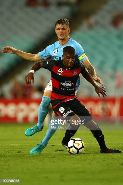 Roly Bonevacia of the Wanderers during the round 13 ALeague match between the Western Sydney Wanderers and Melbourne City at ANZ Stadium on January 1...