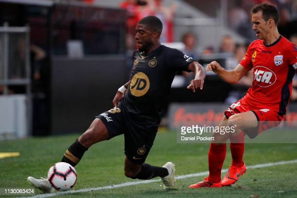Roly Bonevacia of the Wanderers keeps the ball in play during the round 19 ALeague match between Adelaide United and the Western Sydney Wanderers at...