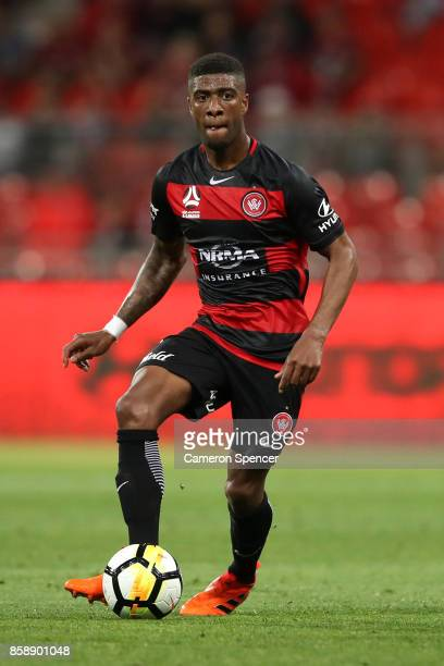 Roly Bonevacia of the Wanderers passes during the round one ALeague match between the Western Sydney Wanderers and the Perth Glory at Spotless...