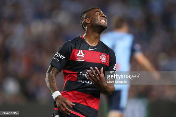Roly Bonevacia of the Wanderers reacts to a missed chance at goal during the round three ALeague match between Sydney FC and the Western Sydney...