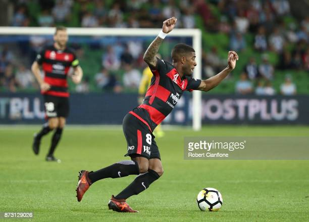 Roly Bonevacia of the Wanderers runs with the ball during the round six ALeague match between Melbourne City and the Western Sydney Wanderers at AAMI...