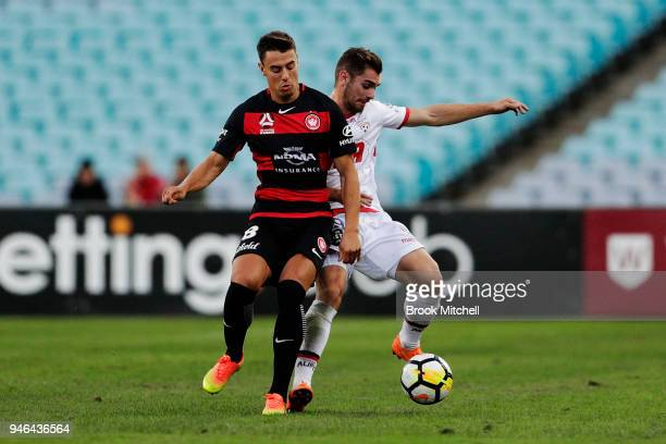 Roly Bonevacia of the Western Sydney Wanderers competes for the ball during the round 27 ALeague match between the Western Sydney Wanderers and...