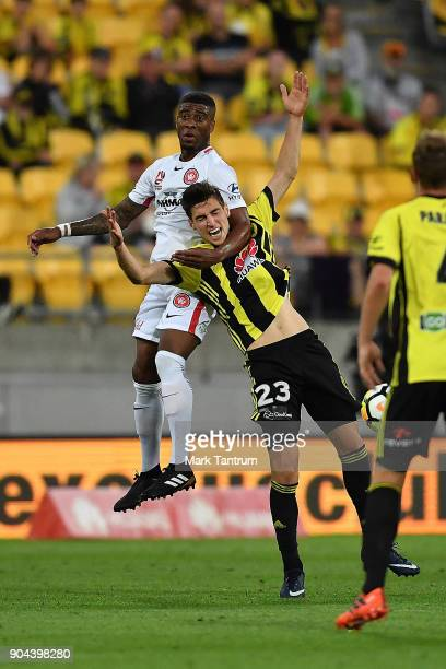 Roly Bonevacia of the Western Wanderers and Matthew Ridenton of the Wellington Phoenix during the round 16 ALeague match between the Wellington...