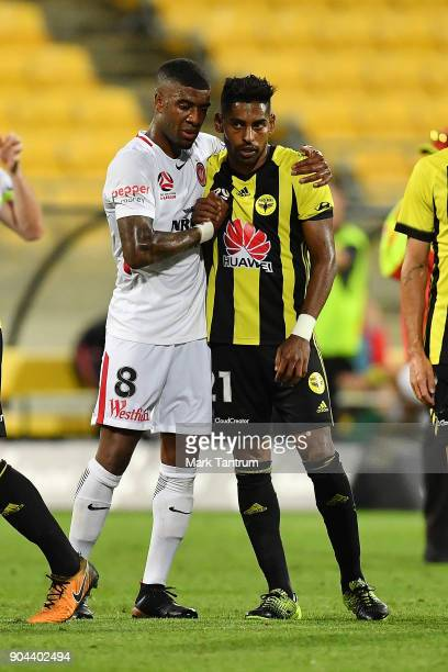 Roly Bonevacia of the Western Wanderers and Roy Krishna of the Wellington Phoenix after the round 16 ALeague match between the Wellington Phoenix and...