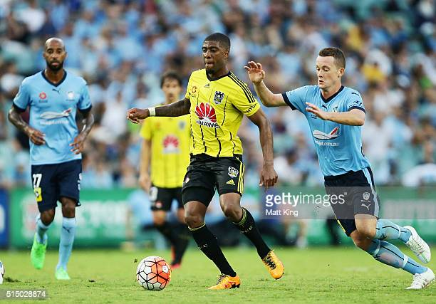 Roly Bonevacia of Wellington Phoenix controls the ball during the round 23 ALeague match between Sydney FC and the Wellington Phoenix at Allianz...