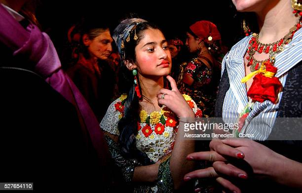 Rom teenager Romina born in Rome waits backstage at the first fashion show entirely created by Rom tailors at the Macro Museum of Modern Art of Rome
