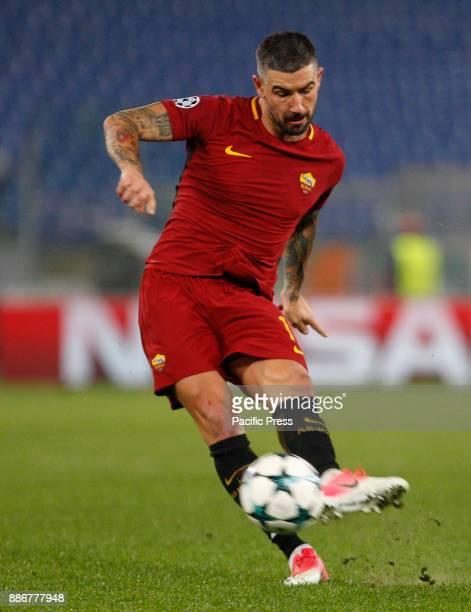 Roma Aleksandar Kolarov during the Champions League Group C soccer match between Roma and Qarabag at the Olympic stadium Roma won 10 to reach the...