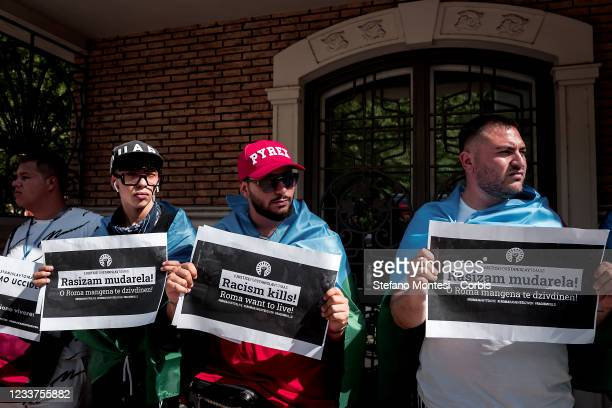Roma and Sinti members of the Ketahne movement take part in a demonstration in front of the Embassy of the Czech Republic to protest at the death of...