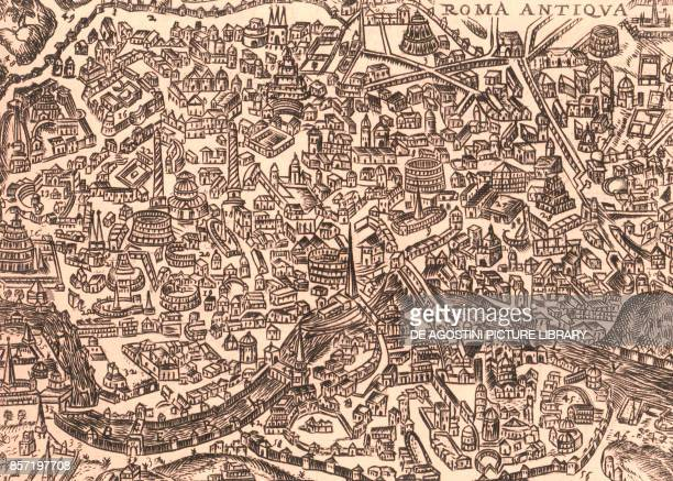 Roma antiqua map of ancient Rome engraving