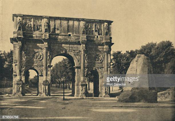 Roma Arch of Constantine ' 1910 Remains of the ornamental conical fountain called Meta Sudans From Cento Vedute Classiche di Roma [Enrico Verdesi...