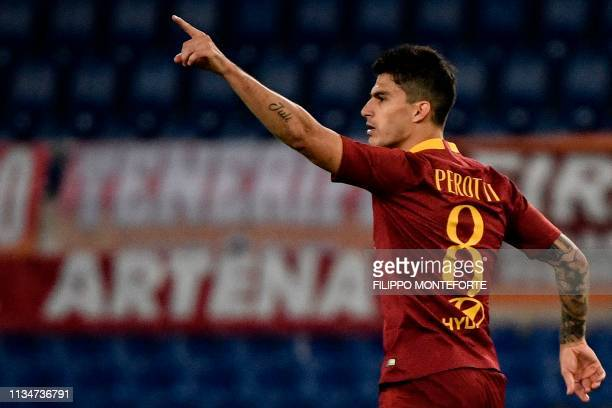 AS Roma Argentine forward Diego Perotti celebrates after scoring during the Italian Serie A football match AS Roma vs Fiorentina on April 3 2019 at...
