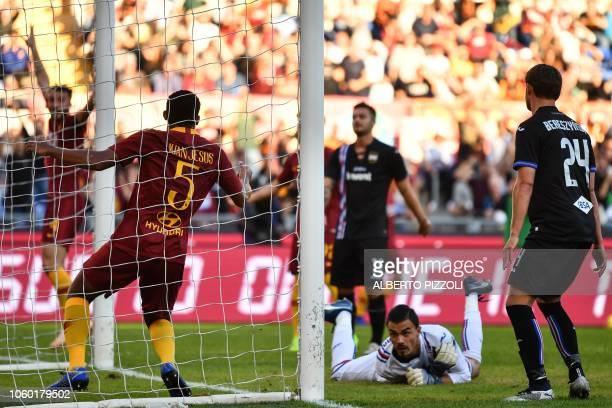 AS Roma Brazilian defender Juan Jesus celebrates after opening the scoring past Sampdoria's Italian goalkeeper Emil Audero during the Italian Serie A...