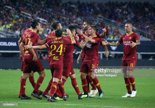 Roma celebrates the penalty shot goal by Diego Perotti of Roma against Barcelona in the second half at ATT Stadium on July 31 2018 in Arlington Texas