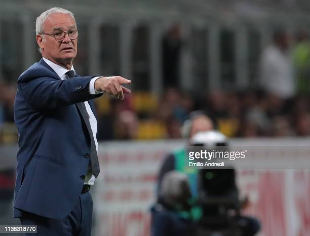 Roma coach Claudio Ranieri issues instructions to his players during the Serie A match between FC Internazionale and AS Roma at Stadio Giuseppe...
