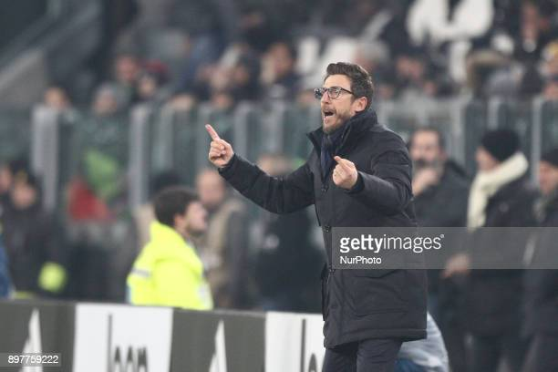 Roma coach Eusebio Di Francesco during the Serie A football match n18 JUVENTUS ROMA on at the Allianz Stadium in Turin Italy