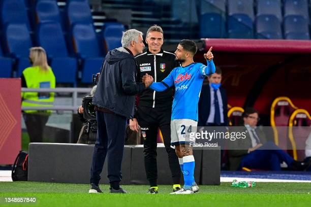 Roma coach Josè Mourinho and Lorenzo Insigne of SSC Napoli during the Serie A match between AS Roma and SSC Napoli at Stadio Olimpico on October 24,...